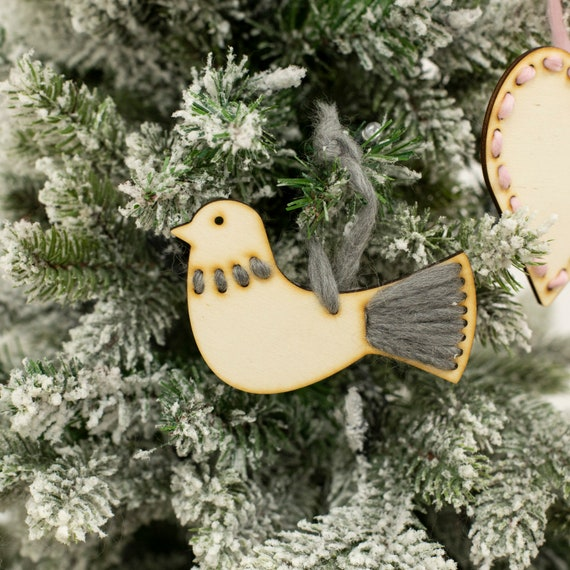 Christmas Tree Doves: Turtle Dove Christmas Tree Decoration Craft Kit. Wooden