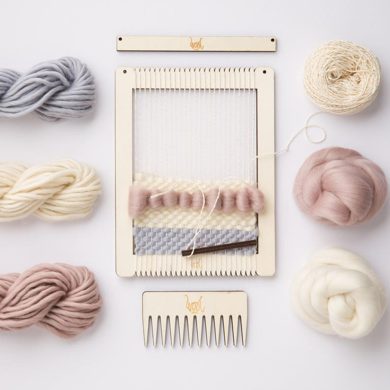 Small Rectangular Weaving Loom Kit by Wool Couture. image 0