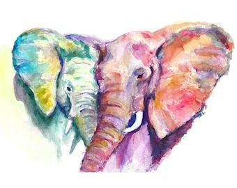 Elephant Heart Watercolor - Digital Print, Original Artwork