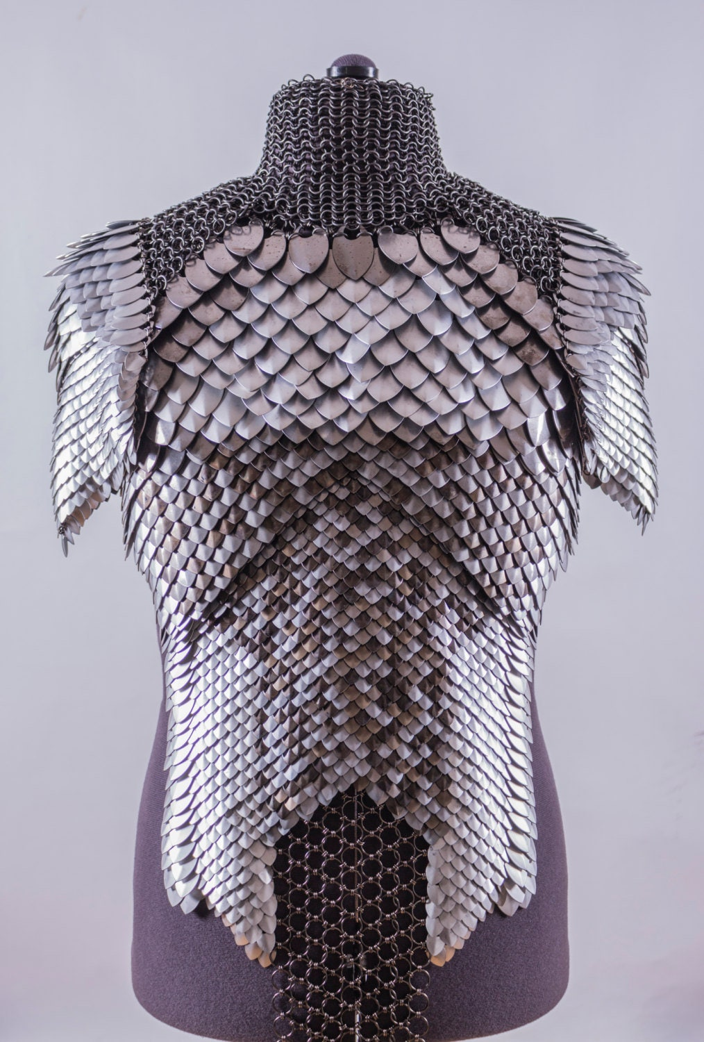 Chainmail & Scale Mail Top With Shoulder Armor Costume