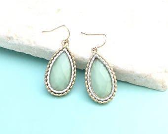 Gold Soft Mint Earrings,  Sea Foam Green Earrings, Sea Foam Jewelry, Teardrop Glass Earrings, Two Tier Earrings, Pastel Mint Earrings