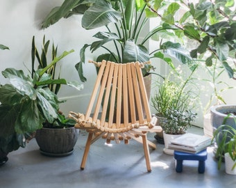 Ash Pioneer Chair/Patio Chair/Indoor/Outdoor/Wood Chair/Folding Chair/Rope Folding Chair/Folding/Deck Furniture/Porch Chair/Rope Wood Chair
