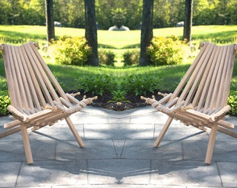 2 Ash Pioneer Chairs/Rope Folding Chair/Wood/Wood Chair/Stylish/Pioneer Chair /Stick Chair/Porch/Patio/Deck/Comfortable/Rope/Folding Chair