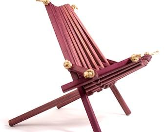 Pioneer Purpleheart Exotic Hardwood Chair/purpleheart/exoticfurniture/exoticwood/specialtychair/luxurychair/rarefurniture/exoticfurniture