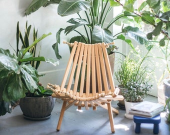 Southern Pine Chair/ Folding Chair/Portable Chair/Decorative Chair/Porch/Patio/Furniture/Rope Folding Chair/Chair/Pioneer Chair/Adirondack