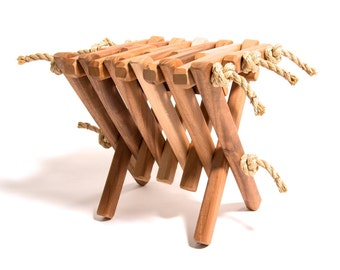 Mahogany Folding Hassock/Table/Stool/Footrest/Ottoman/Indoor/Outdoor/Furniture/Wood/Rope/Folding