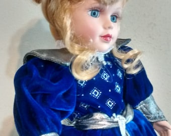 Beautiful Blonde Porcelain  Doll in Blue Grey Gown Dress Velvet Blue Eyes Lovely Collectible Toy Vintage Gift