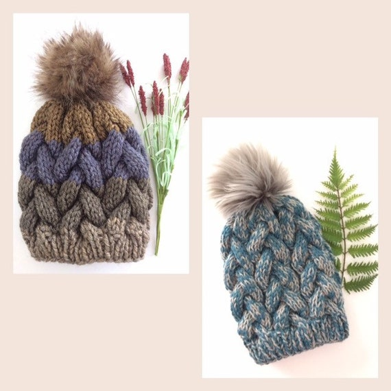Knit Braided Cable Beanie    Knit Winter Hat    Women s  9d1c2a32c