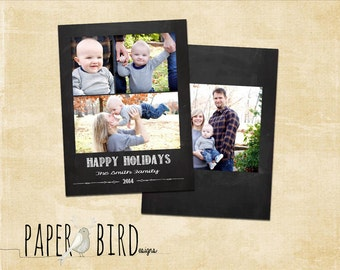INSTANT DOWNLOAD - Christmas Holiday PSD photo card template, Chalkboard, Rustic, Chalk