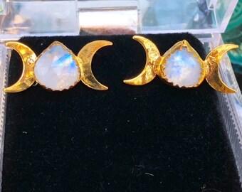 LISTING FOR SELINAMARIA Triple Moon Goddess Earrings