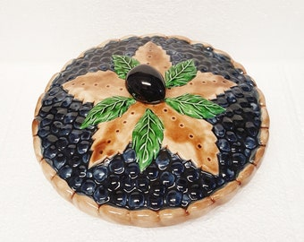 "Vintage Pie Plate, Lidded Casserole Dish ""BLUEBERRY""Made in Portugal Hand painted 11 Inch/Retro Home Kitchen Dining Decor Serving"