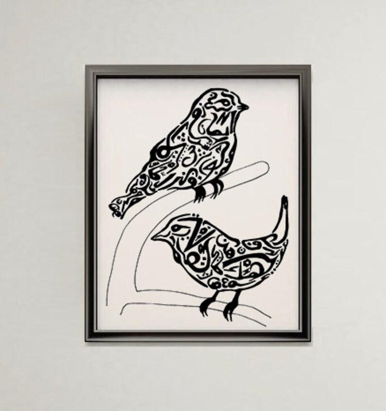 Dessin Art Original D'oiseau Calligraphie Arabe wO8nPk0