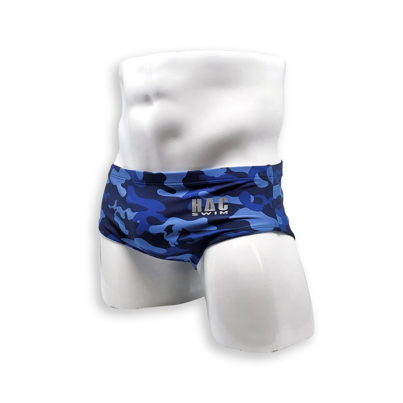 Mens Swimsuit Vintage Cut Swim Brief in Blue Dino Camo Print for Swimming Aesthetic Bodybuilding Posing or Mens Pole Dance