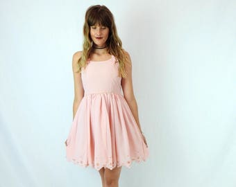 Perfect Pink Party Dress! Women's Vintage Pink Jennie's 60's Fit and Flare Mini Dress Size XXS