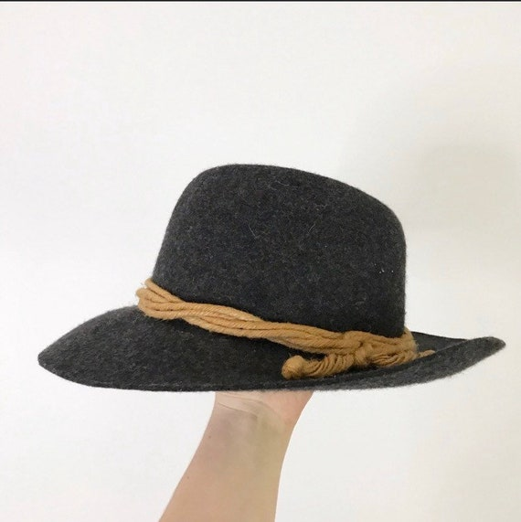 Vintage 70's boho Wool/Felt Fedora Hat with twist… - image 1