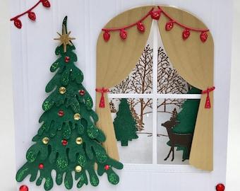 3d christmas card 3d christmas tree and outdoor window scene cardunique handmade christmas card3d deluxe hand made christmas card