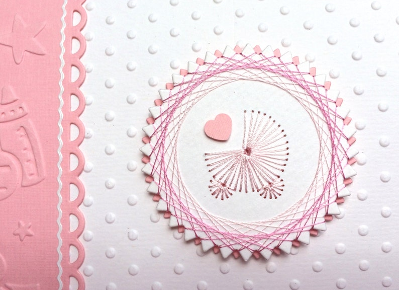 Handmade Baby Unique Baby Card Adorable Embroidered Baby Card Hand Made Baby Card New Baby Girl Handmade Baby Card Baby Invitation