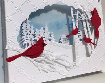 3D Cardinal Winter Scene Christmas Card, Christmas Diorama Card,Glittered Cardinal Card,Unique Handmade Christmas Card,Deluxe Christmas Card