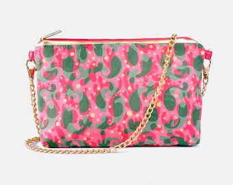 Nolita Crossbody crossbody bag, Gift for her, Purse, Clutch, Cute Handbag, Khaki Pink Fish Print, Valentines day gift, Gift for girlfriend