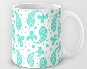 Bubble Fish Print Ceramic Coffee Mug in Mint, 11 oz and 15 oz   Ceramic