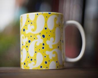 Paisley Fish Print  Ceramic Coffee Mug in Yellow, 11 oz and 15 oz