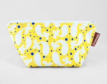 Paisley Fish Trapeze Pouch Yellow Zipper Cosmetic pouch, Gift for her, Valentines day gift, bag Makeup purse Bag organizer Recycled Canvas