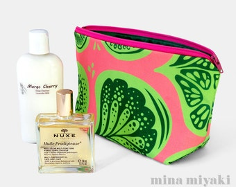 Frutti Pink Lime Green Zipper Makeup Flat bottom Pouch, Cosmetic Toiletry, pink Purse, Girly gift, Hot Pink Clutch, Carry-all bag, Fruit