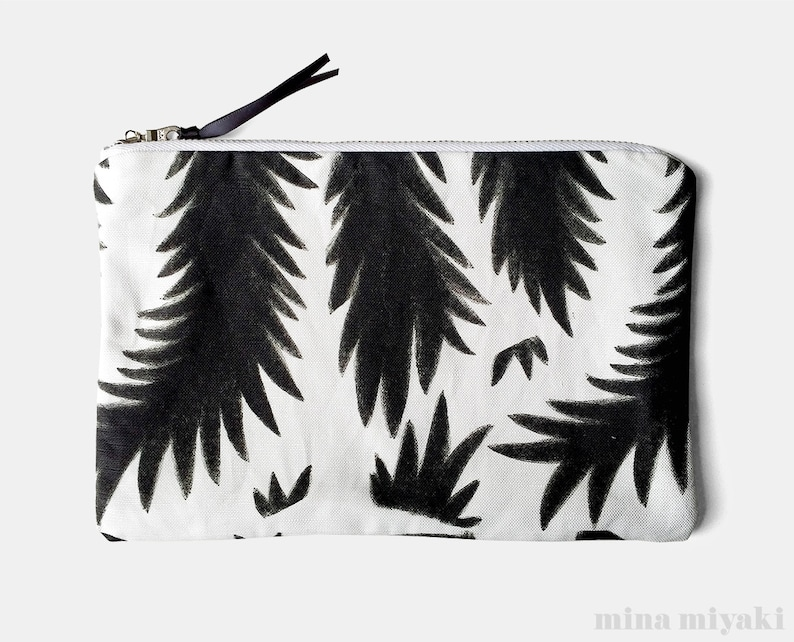 Botanical Branches Print Black and White Zipper Makeup Pouch image 0