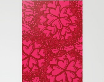 "Holly Hearts Print Stationery Folded Cards (5"" x 7""), in pink, hot pink, Fuchsia, with Blank with Envelops"