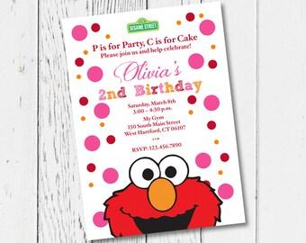 Printable Elmo Birthday Party Invitation Digital