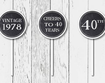 Printable 40th Birthday Party Cupcake Toppers (digital file)