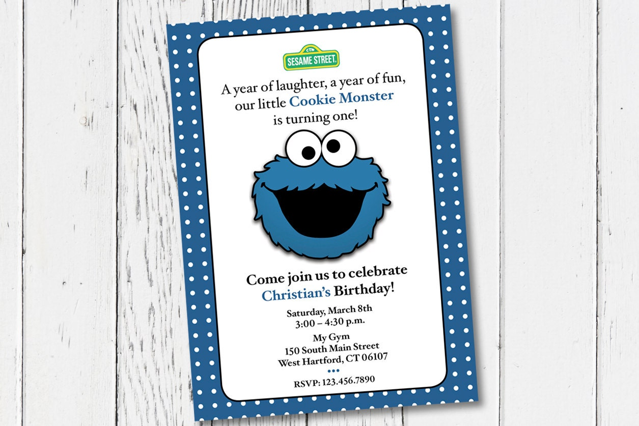 Printable Cookie Monster Birthday Party Invitation. Digital | Etsy