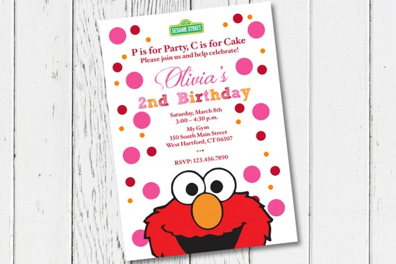 Printable Elmo Birthday Party Invitation Digital