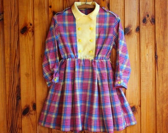 USSR Check Tea Dress / Pink, Purple & Yellow Tartan Toddler Peter Pan Collar, Double Breasted Long Sleeve Dress / Latvia Vintage, Girl 3T 4T