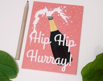 Hip Hip Hurray Card, A6 Congratulations Card, Birthday Card, Wedding Card, New Baby Card, Mother's / Father's Day Card