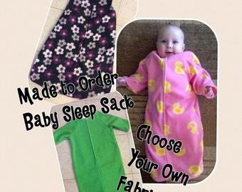 ffaaa2541 Fleece Baby Sleep Sack Fleece-Choose Your Pattern-Baby Bunting-Sleeveless  and Sleeves Available