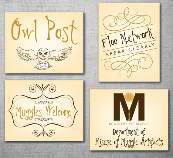4 Harry Potter Instant Download Printable Signs 1st Party Etsy