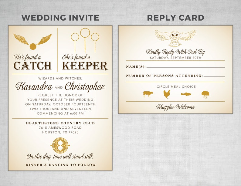 graphic relating to Printable Rsvp Card called Harry Potter Marriage Invitation RSVP Card - Do-it-yourself Printable