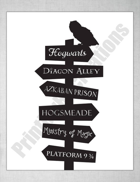 Harry Potter Owl On Post Sign Instant Download Pdf Printable Etsy
