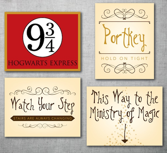 4 Harry Potter Instant Download Printable Signs 2nd Party Etsy