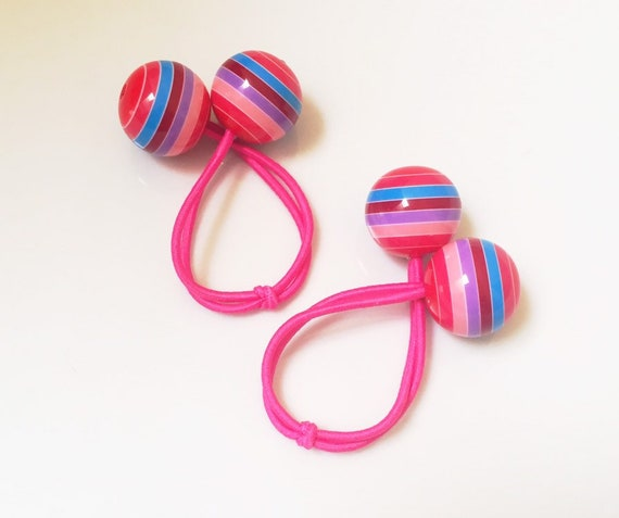 Striped ball hair ties. Striped Bobbles. Pink Hair Ties.  6369203c67f