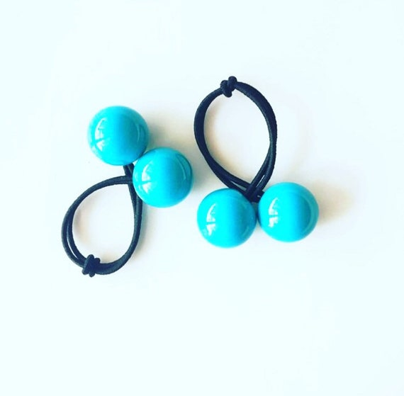 Large Turquoise Bobbles   Ponytail Holder   Ball Hair Ties    8fdb16f40e2