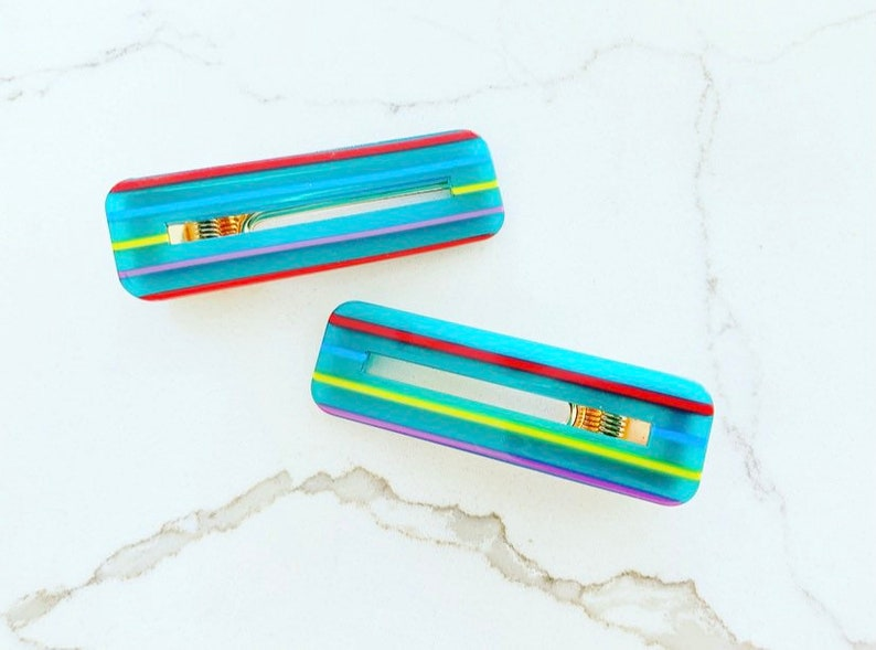 Hair Clips Vintage Barrettes Striped Barrettes Striped Hair Clips Retro Barrettes Retro Hair Clips Large Hair Clips Turquoise Hair