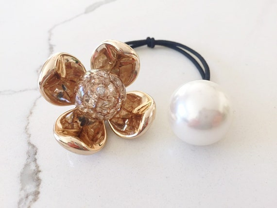 Brown colors Scrunchies jumbo bead hair tie girl Ball Ponytail Holders