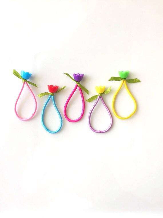 10Pcs cute élastique cheveux cravates bande collier de queue de cheval porte