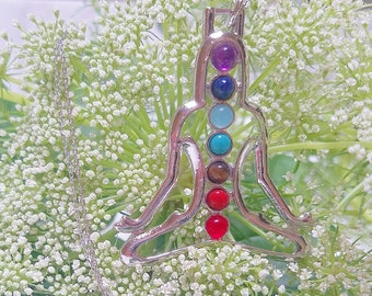 Chakra Yoga Necklace Sterling Silver 20 inches