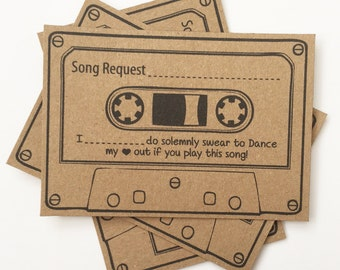 Wedding Song Request Cards Brown Kraft Vintage Retro Games Shabby Chic