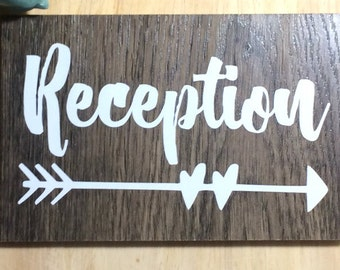 Reception Sign Decal | DIY Wedding | Wedding Way Finding Sign |  Party Sign Decal | Chalkboard Decal | DECAL ONLY