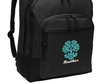 Personalized Back Pack, Tree of Life, Embroidered Alternative Diaper Bag