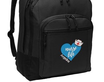 Nurse Life Personalized Embroidered Backpack, RN, LPN, LVN